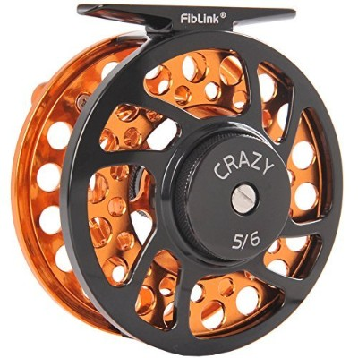 (5/6 Wt, Orange) - Fiblink Fly Fishing Reels with Large Arbour 2+1 BB, CNC machined Aluminium Alloy...