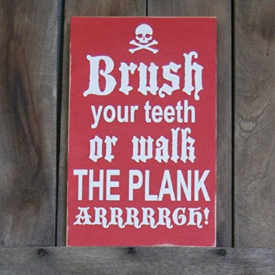susie85electra Brush Your TeethまたはWalk The Plank Pirates Wash Their Booty Pirateバスルーム用装飾木製Signs...