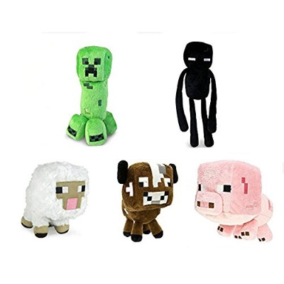 "Official Minecraft Overworld 7 "" Plush Set of 6 : Squid、クリーパー、Enderman、Baby Pig、牛、&羊 Set of 5"