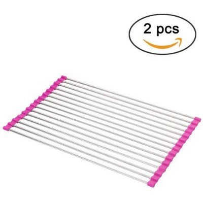 (Pink) - Dish Drying Rack Large Stainless Steel Over the Sink Folding Roll-Up Dish Draining Rack 2...