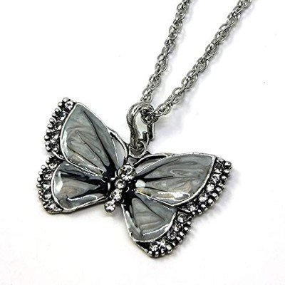 Gray Color Decoration Alloy Rhinestone Butterfly Flawless Lady Choker Pendant Exquisite Necklace ...