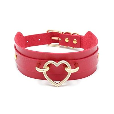 Heart Pendant Gothic Chocker Simple Style Red PU Leather Collar Necklace [並行輸入品]