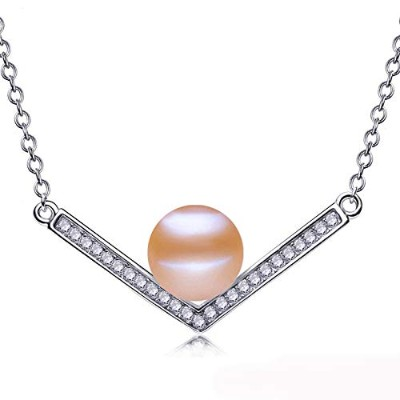 Fashion Freshwater Pink Pearl Pendant with Necklace Chain [並行輸入品]
