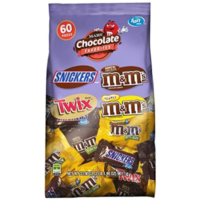 MARS Chocolate Favorites Fun Size Candy Bars Variety Mix 33.9-Ounce 60-Piece Bag by M & M's