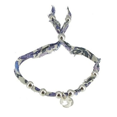Les Poulettes Jewels - Bracelet Liberty Print with Sterling Silver Heart Medal and Pearls- Lilac...