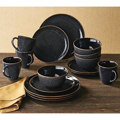 Better Homes and Gardens 16 pc Burns食器セット、ブラックSpeckled