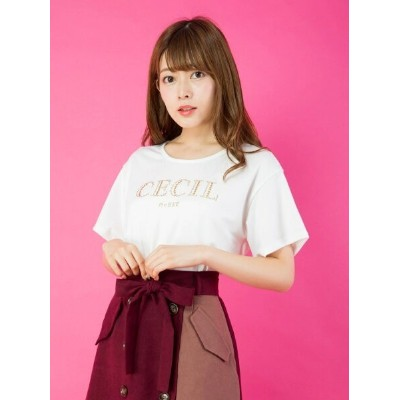 【SALE/21%OFF】CECIL McBEE GOLDロゴTシャツ セシルマクビー カットソー【RBA_S】【RBA_E】