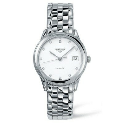 ロンジン 腕時計 Flagship Automatic Diamond Bracelet Watch, 35.5mm Silver/ White/ Silver
