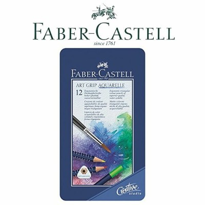 FABER CASTELL ファーバーカステル色鉛筆 アートグリップ水彩色鉛筆セット 12色セット 缶入り 114212a(色鉛筆/イラスト/画材/絵画/趣味/ギフト/プレゼント)
