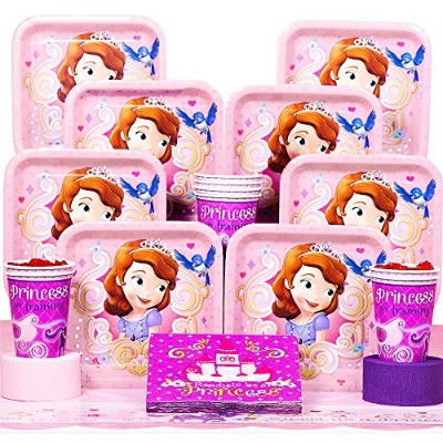 ちいさなプリンセス ソフィア ディズニージュニア Disney Junior Sofia the First Deluxe Party Supplies Pack Including Plates,...