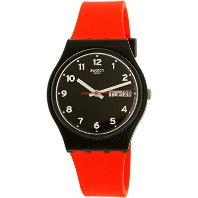 スウォッチ 腕時計 メンズ GB754 Swatch Originals Red Grin Black Dial Silicone Strap Unisex Watch GB754スウォッチ 腕時計...