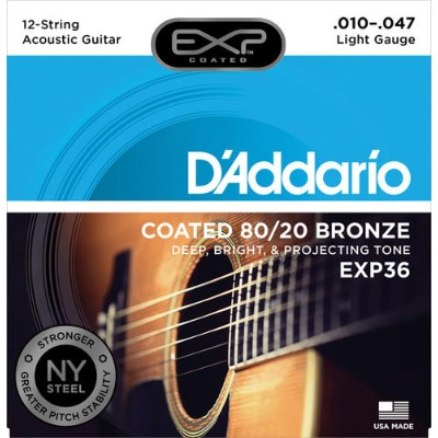 D'Addario 《ダダリオ》 Coated 80/20 Bronze [EXP36 Light 12-strings]