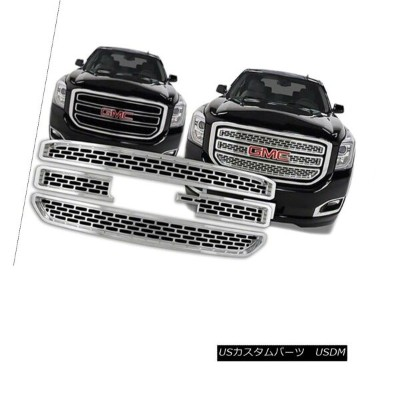 USグリル 2015 16 17 GMC Yukon XL CHROME Snap On Grille Overlay 3 Bar Grill Covers Inserts 2015 16 17...