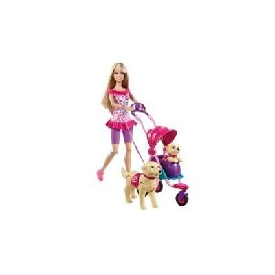 Toy / Game Barbie(バービー) Strollin Pups Playset (T7197) With Her New Puppy Riding Along For More