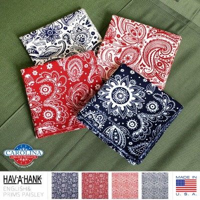 【15%OFFセール開催中】HAV-A-HANK ハバハンク MADE IN U.S.A. ENGLISH PRIMS ペイズリーバンダナ《WIP》ミリタリー 軍物 メンズ 男性 ギフト プレゼント