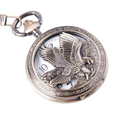 Eagle Design イーグルデザイン 懐中時計 Pocket Watch With Chain Quartz Movement Arabic Numerals Half Hunter...