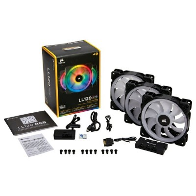 CORSAIR CO-9050072-WW LL120 RGB 3 Fan Pack with Lighting Node PRO ファン3個とLighting Node PROをセットにした標準モデ...