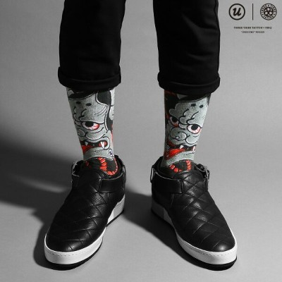 "THREE TIDES TATTOO × UBIQ ""IREZUMI"" SOCKS (Hannya) Designed by HORIHIRO MITOMO(スリー タイズ タトゥー x ユービック..."
