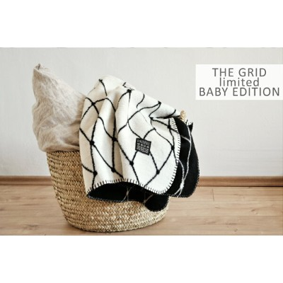 bastisRIKE | THE GRID - COTTON BABY BLANKET (black and white) | ベビーブランケット【75x100cm】【北欧 シンプル モノクロ...