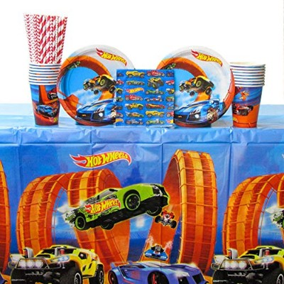 ホットウィール マテル ミニカー ホットウイール Hot Wheels Wild Racer Party Supplies Pack for 16 Guests - Straws, Dessert...