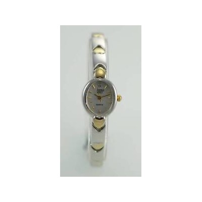 【送料無料】gruen white womens stainless steel silver gold easy read quartz battery watch