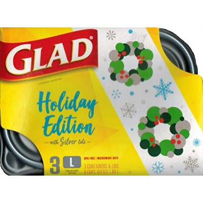 Gladware Large Food Storage Containers, 8 cup/64oz, 3 count (Holiday) by Glad [並行輸入品]