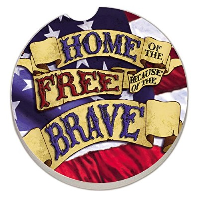 Counter Art Absorbent Stoneware Car Coaster, Home of The Free by CounterArt