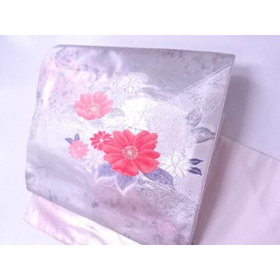 【IDN】 九寸名古屋帯 箔使い 花文様【リサイクル】【中古】【着】