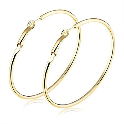 T-PERFECT LIFE 18K Gold Plated Women Fashion Extra Large Round Hoop Earrings-70mm