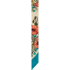 Gucci Neck bow with poppy print - ニュートラル