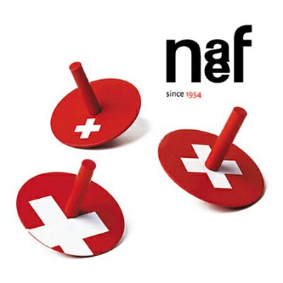 Naef ネフ社 スイス・コマ3点セット Swiss Kreisel〜スイス・Naef(ネフ社)のスイスの国旗デザインの3種類の「スイス・コマ」セットです。