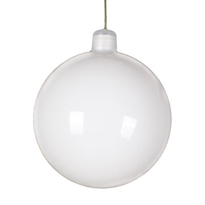 Queens ofクリスマスwl-orn-blks-60-wh-uv Shiny Ball ORNAMENT WITH WIRE AND UVコーティング、60mm、ホワイト