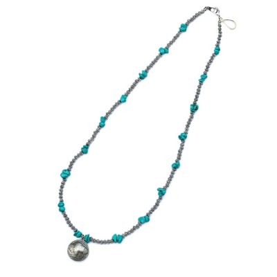Button Works(ボタンワークス)【TURQUOISE NECKLACE with FIVE CENTS COIN / ターコイズ ネックレス 5セントコイン】[正規品](ロング/トルコ石...
