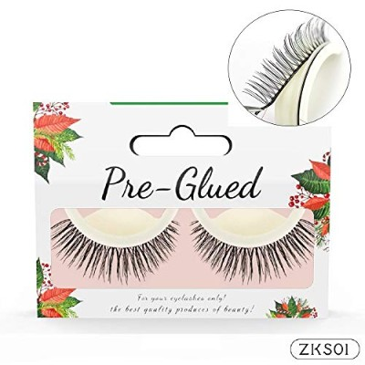 2Pair/set 3D Handmade False Eyelash Self Adhesive Lashes No Glue Makeup Natural Long Fake Lash...