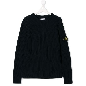 Stone Island Junior TEEN ribbed-knit jumper - ブルー