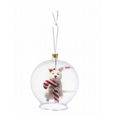Steiffシュタイフ 世界限定キャンディーケーン in ボーブルオーナメント  Candy Cane mouse in bauble ornament テディベア プレゼント リアル ぬいぐるみ...