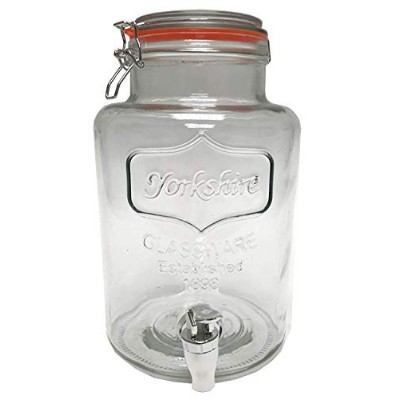 Circleware Yorkshire Glass Beverage Dispenser with Hermetic Lid, Clear, 1.5 Gallons