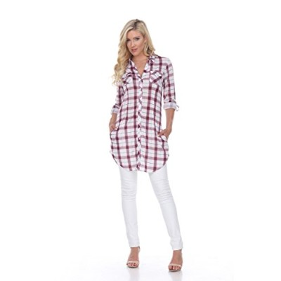 White Mark 17556-04-L Piper Stretchy Plaid Tunic, 04 - Red & White - Large