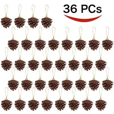 36 Hanging Real Pine Cones Ornaments forクリスマスとホリデーデコレーションby joiedomi