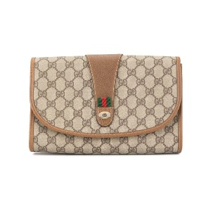 GUCCI PRE-OWNED シェリーライン クラッチバッグ - ブラウン
