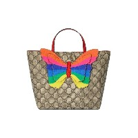 Gucci Kids Children's GG tote with rainbow butterfly - ニュートラル