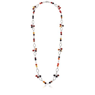 ELYA Jewelry Womens Stainless Steel Amber Colored Natural Agate Clustered Stones Strand Necklace-...