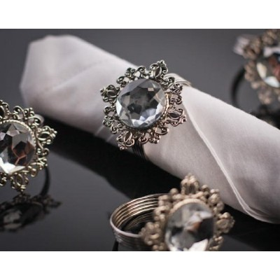Set of 4 Stunning Silver Filigree Napkin Rings with Clear Rhinestone Centres