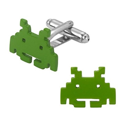 Outlander GearビデオゲームSpace Invader 2018ゲームテーマGroom Groomsmen Mens Boys Cufflinks