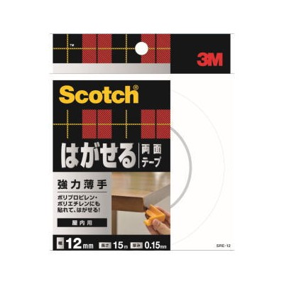 3M はがせる両面テープ 強力薄手 (SRE−12) 12mm×15m 小箱20個入り(お取り寄せ品)