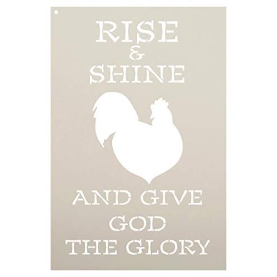 """Give God the Glory–Rooster–Wordアートステンシル–10"""" x 15""""–stcl1861_ 2–by studior12"""
