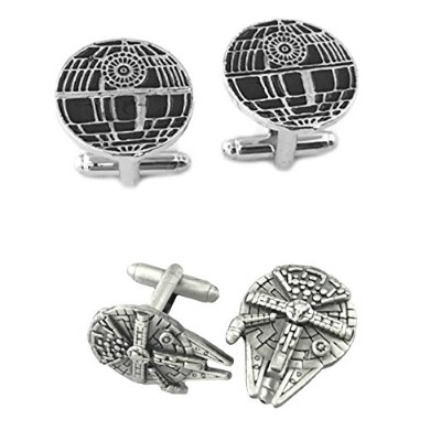 Outlander Gear Star Wars 2ペアDeath Star & Millenium Falconスーパーヒーロー2018ムービーMens Boys Cufflinks