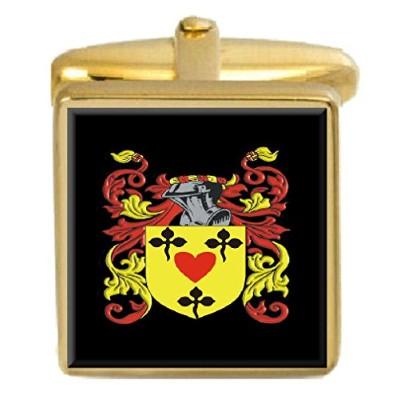 選択ギフトRowlands England家紋Surname Coat of ArmsゴールドCufflinks Engravedボックス