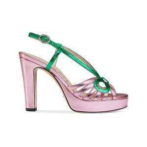 Gucci Metallic leather sandal - ピンク