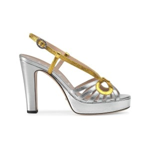Gucci Metallic leather sandal - シルバー